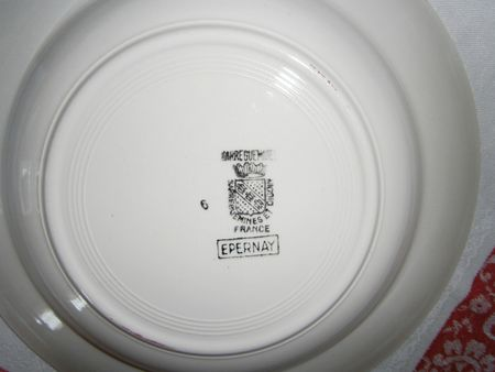 Assiette creuse Epernay Digoin estampillage