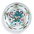 A fine doucai 'dragon' dish, mark and period of yongzheng (1723-1735)