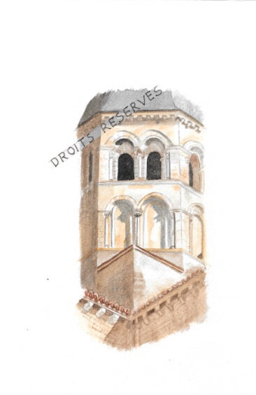 Paray le Monial (71) détail clocher 16X24 - copie