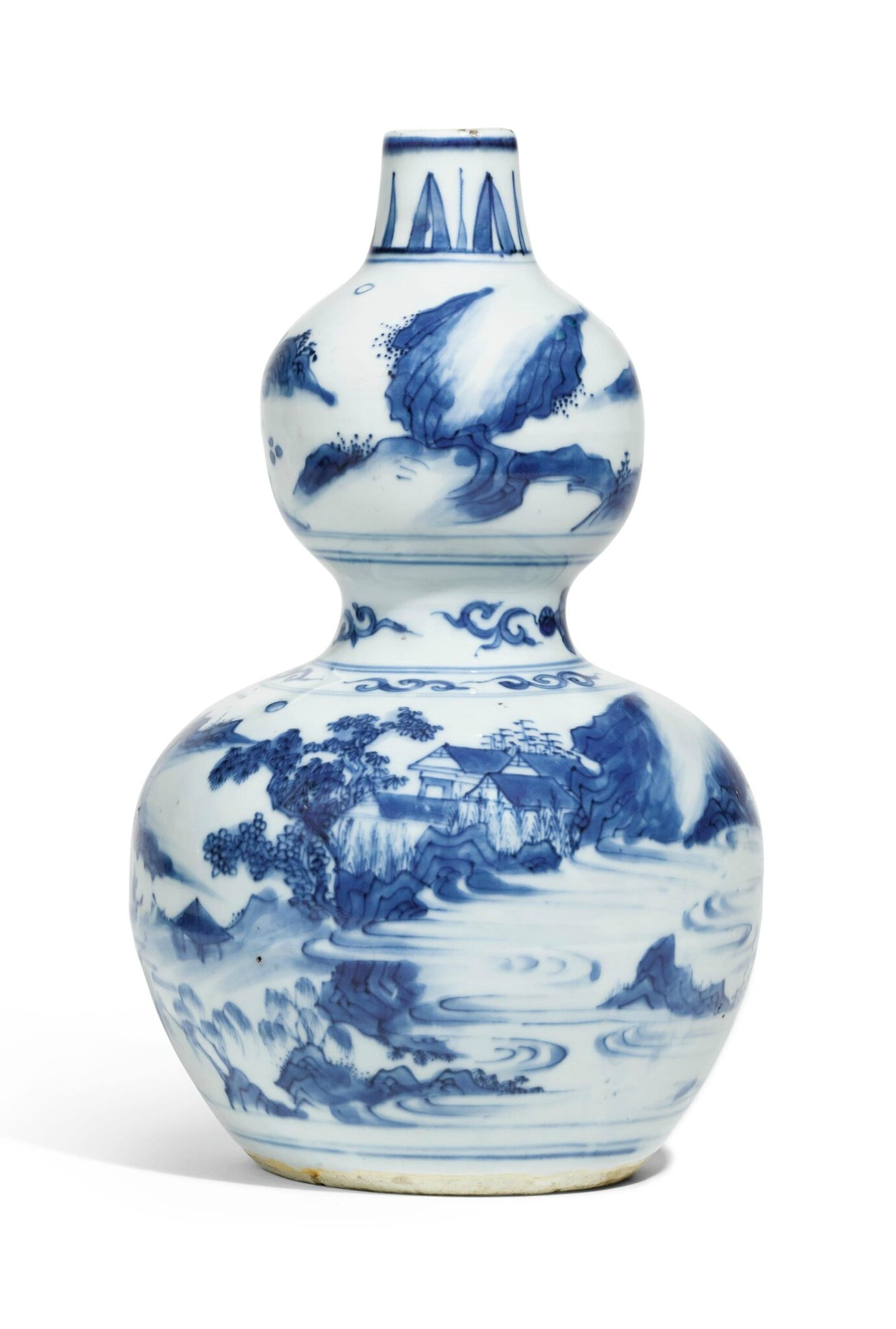 A blue and white double-gourd vase, 17th century