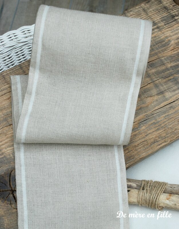bande lin 12 fils liseré blanc 20 cm