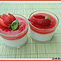 Panna cotta au gingembre, gelee de fraises