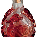 A red glass overlay snuff bottle, 19th-20th century (2)
