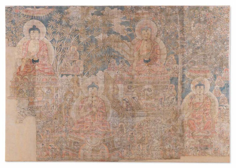 A rare and large painting of the Cosmic Buddhas, East Tibet, 14th-early 15th century