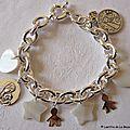 Bracelet sur chaîne plaqué argent ovale