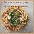 Salade de spaghetti au jambon et aux oeufs ( 408 calories par personne ou 9 pp)