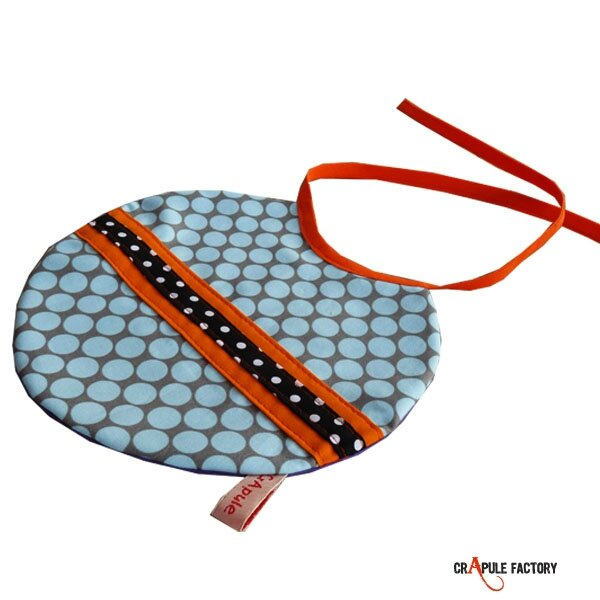 Bavoir rond à nouer original bleu pois rétro / vintage bande orange et noir pois bébé garçon / fille 6005