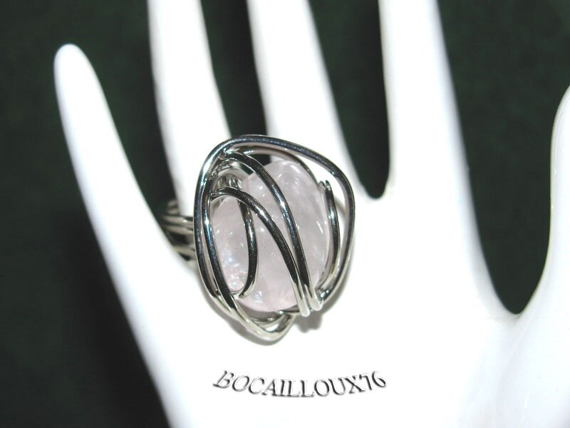 BAGUE Cage QUARTZ Rose 8 - T50 - Monture ARGENTEE