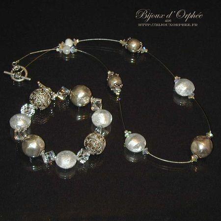 creation bijoux parure murano blanche perle argent