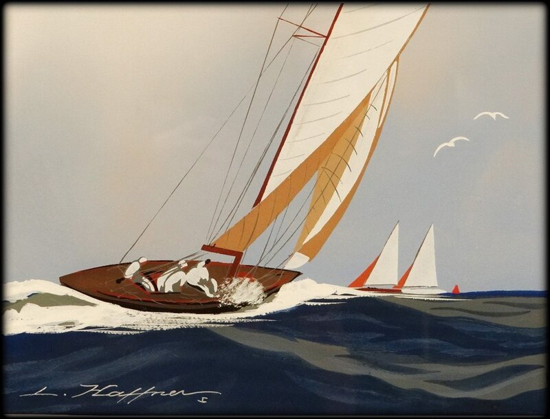 gouache_marine_yatch_bateau_voilier_mer_regate_leon_haffner_xxeme_siecle