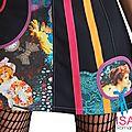 Robe maille Graphique Vintage Romantique décalée et applications de Rubans Colorés Pop Printemps 2015 fantaisie et Originale