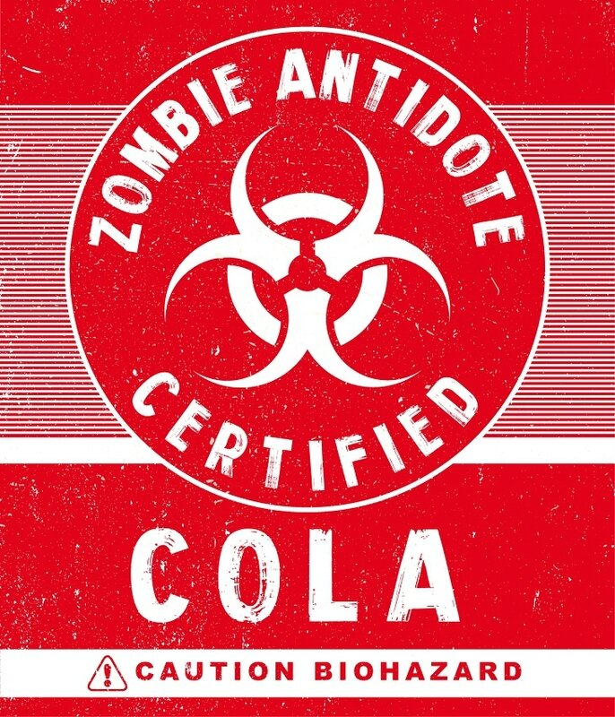 antivirus zombie cola Label Halloween Zombie Biohazard