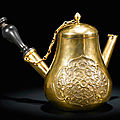 An extremely rare small gold pear-shaped ewer and cover, qing dynasty, yongzheng-qianlong period (1723-1795)