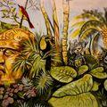 detail fresque, restaurant diosa kali, isla holbox, mexico