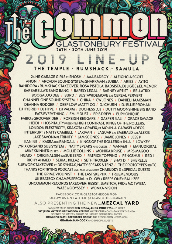 Glastonbury_festival_2019_The Common_line-up_programmation_poster_affiche