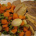 Petits pois carottes et quasi de veau