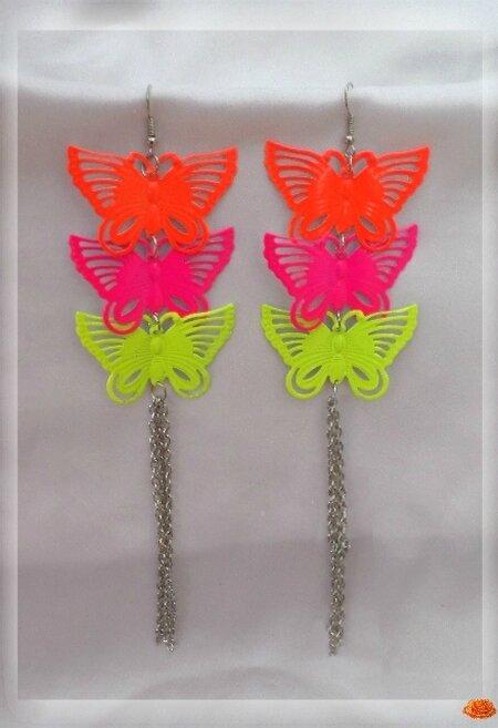 Boucles d'Oreilles Vola Papillons Métal Orange Rose Jaune Chaînes Extra Longues Métal Argenté