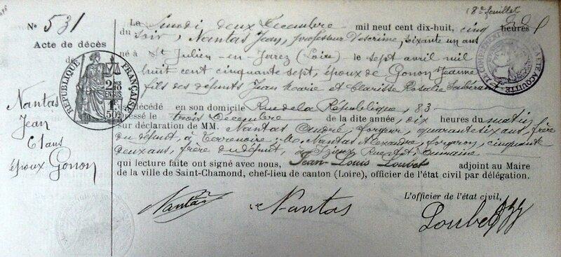 Jean Nantas acte décès 1918