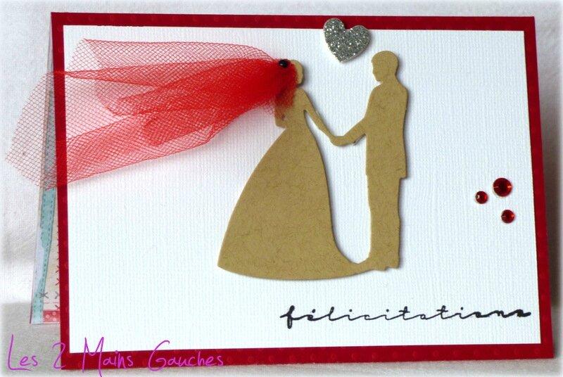 carte de félicitations de mariage avec couple de mariés et voile rouge