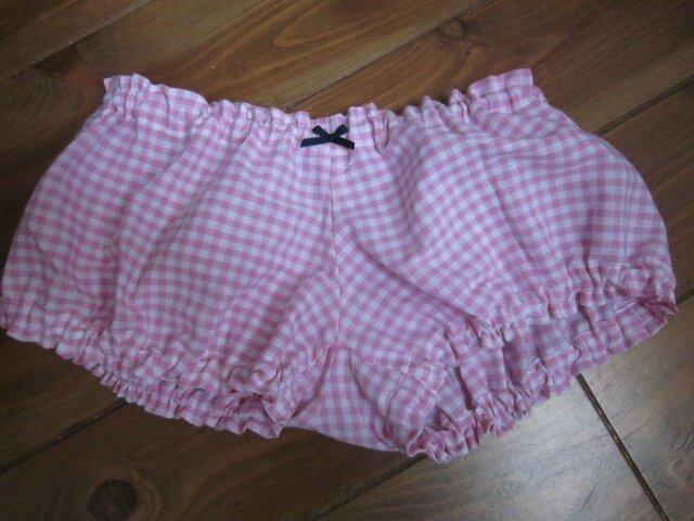 Culotte BIANCA en coton vichy rose - Noeud marine (2)