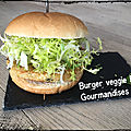 Burger veggie pois chiche, petits pois, quinoa, maïs