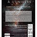 Conférence du 11 septembre 2018 l'homme face à l'univers