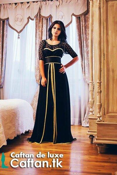 e789b065c25 Robe de soirée noire d'or 2014 - Caftan marocain haute couture 2014