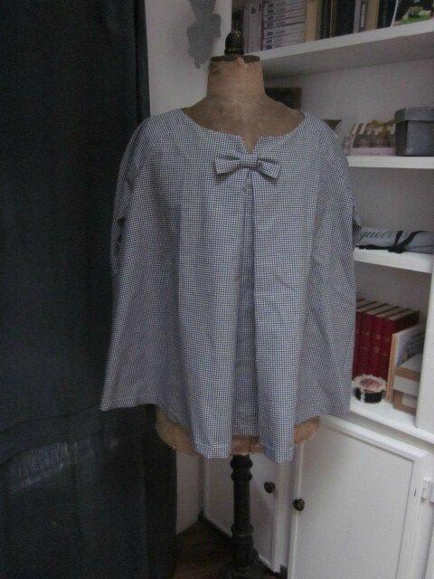 Blouse COLETTE en coton vichy noir et blanc taille 42-48 (4)