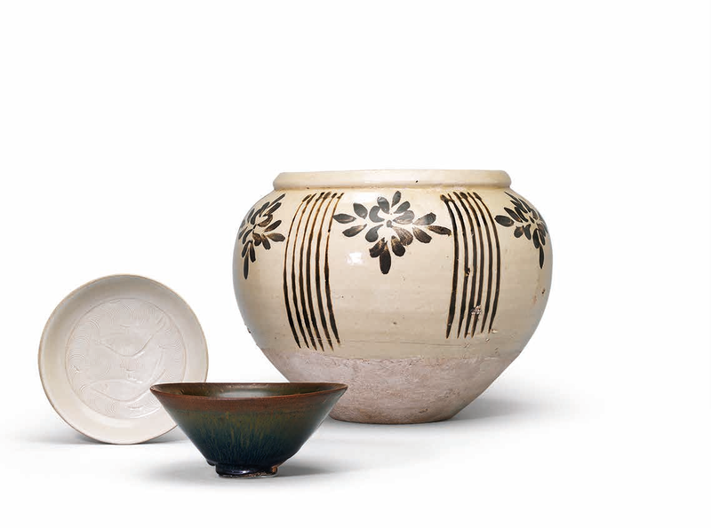 A Jian tea bowl, a Cizhou jar, and a Ding-type dish, Song Dynasty or later