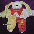 Doudou lapin lapinou doudou et compagnie, violet rouge jaune vert