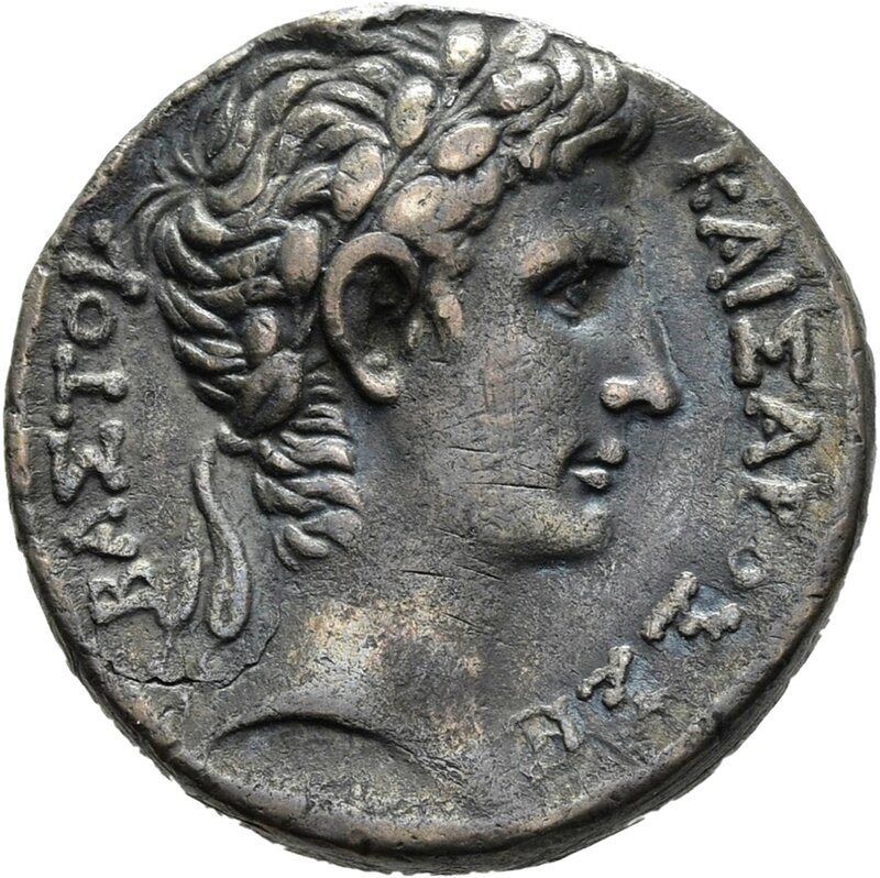 Antioch on the Orontes , front, head of Augustus, 5-4 v