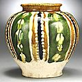 A sancai-glazed ovoid jar, Tang Dynasty