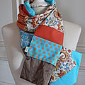 echarpe patchwork bleu/orange 39 euros