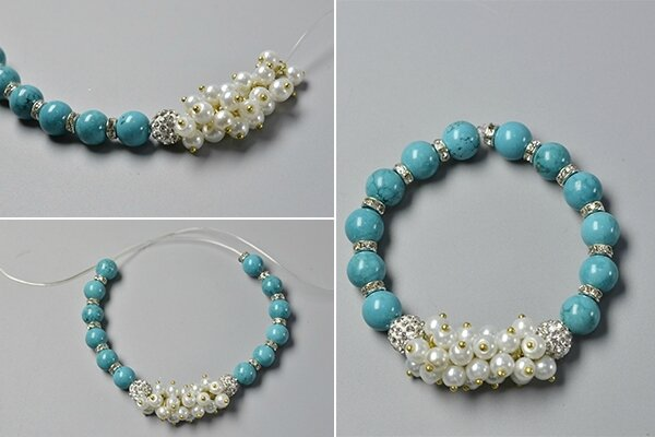 How to Make a Simple Beaded Bracelet with Turquoise Beads and Pearl Beads 4