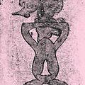 Empreintes sur papier de soie rose