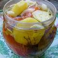 Saumon, pommes à l'huile, façon harengs