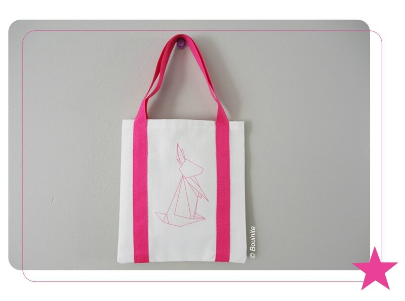 20140417 Tote bag lapin origami rose 1