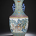 A magnificent fine turquoise-ground famille rose 'hundred boys' vase, qianlong six-character seal mark and of the period