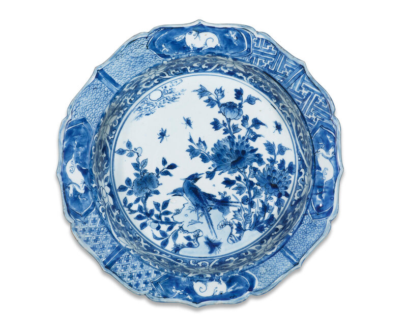 A blue and white barbed-rim 'pheasant and peony' basin for the Japanese market, Wanli period (1573-1620)