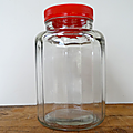 Vintage ... grand pot ancien à friandises * verre épais à facettes
