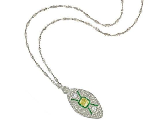 An-art-deco-colored-diamond-diamond-emerald-and-platinum-brooch-pendant-necklace-circa-1925-