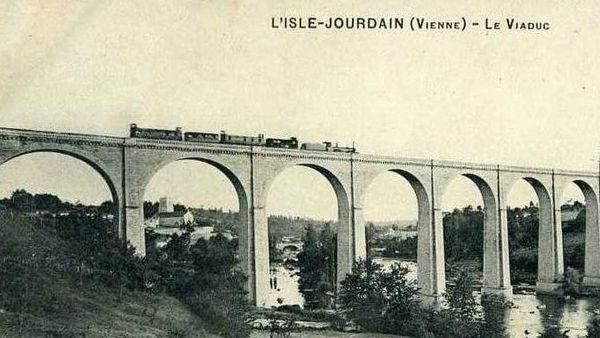 Copie de Viaduc de l'Isle jourdain 86 le train