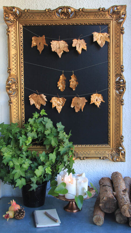 DIY_fall_in_love_gold_leaves_garland