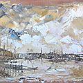 Port de bordeaux 1900 (huile sur toile 6f 2009 )peinture au couteau