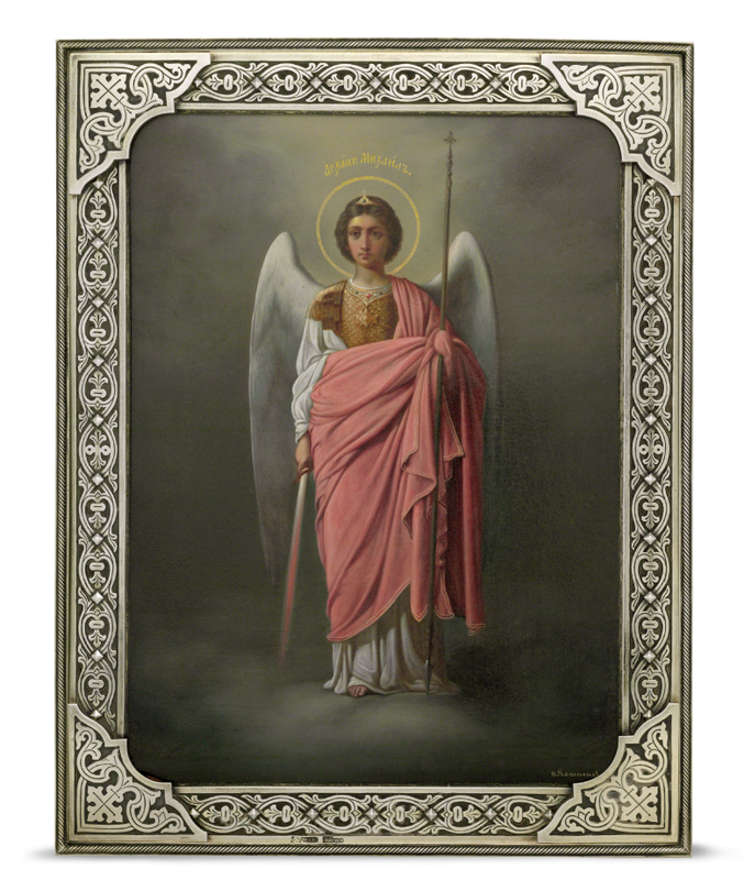 A Silver-Gilt Icon of Archangel Michael Marked Grachev with the Imperial Warrant, St