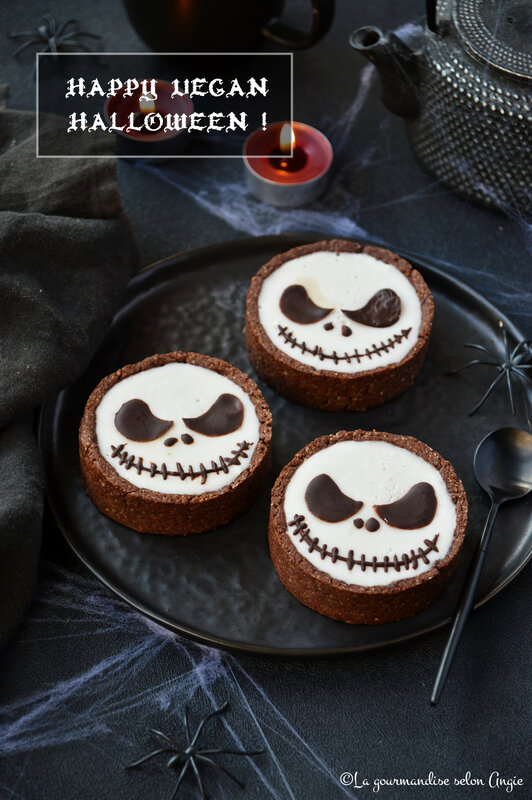tarte chocolat panna cotta coco vegan jack skellington halloween (1)