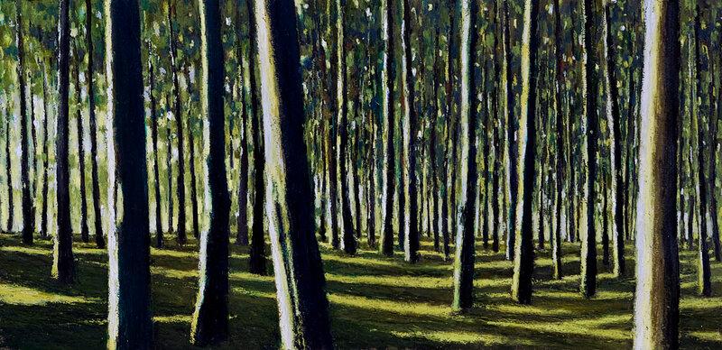 Forêt de fin d'été, pastel à l'huile, 65 x 32 cm, oct 2018