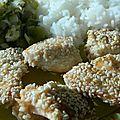 Saumon mariné, pané au sésame