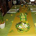 Ma table de pâques en vert et jaune