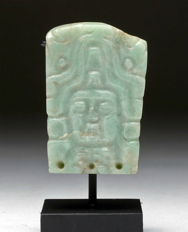 Jade Adornment with Lord Visage, Pre-Columbian, Mexico or Guatemala, Mayan, Ca